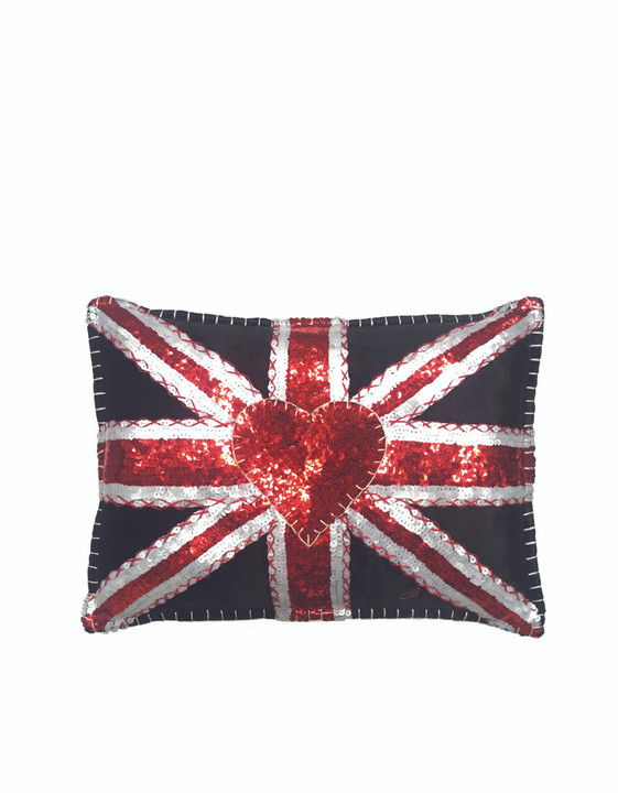 Jan Constantine Velvet Glam Rock Sequin Union Jack Cushion (Black)