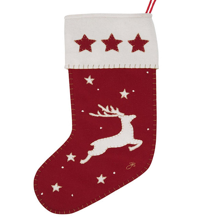 Jan Constantine Deer and Stars Christmas Stocking (Red)