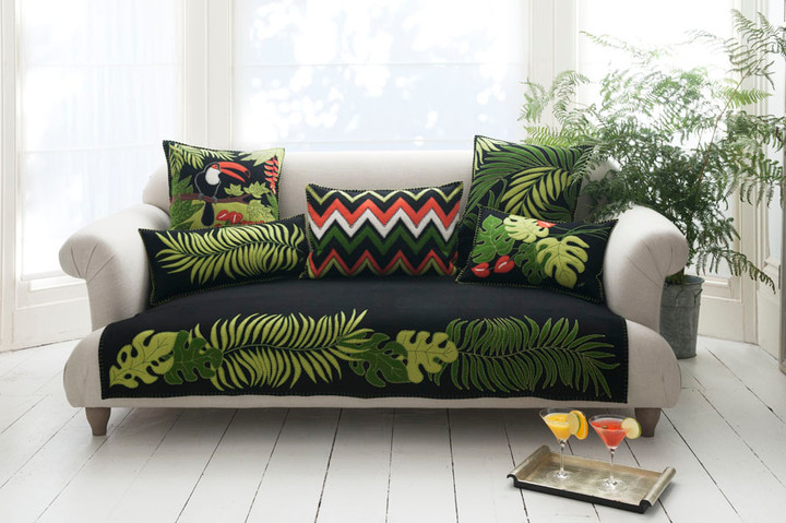 Jan Constantine Tropical Palm Throw (Black)