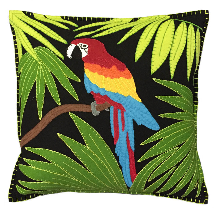 Jan Constantine Tropical Parrot Cushion (Black)