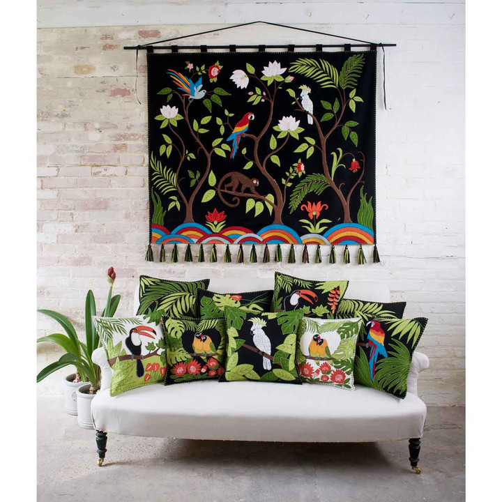 Tropical Cockatoo Cushion (Black)