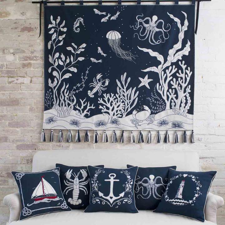 Jan Constantine Lighthouse Wreath Cushion (Navy Blue)