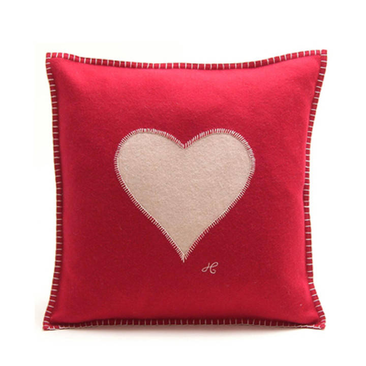 Heart cushion, red and cream wool, hand-embroidered