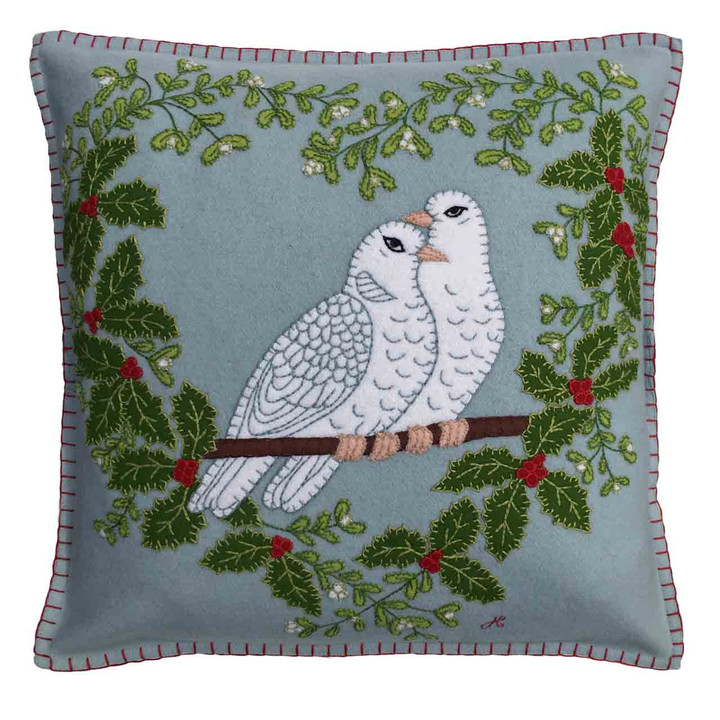 Jan Constantine Turtle Doves Cushion (Duck Egg Blue)