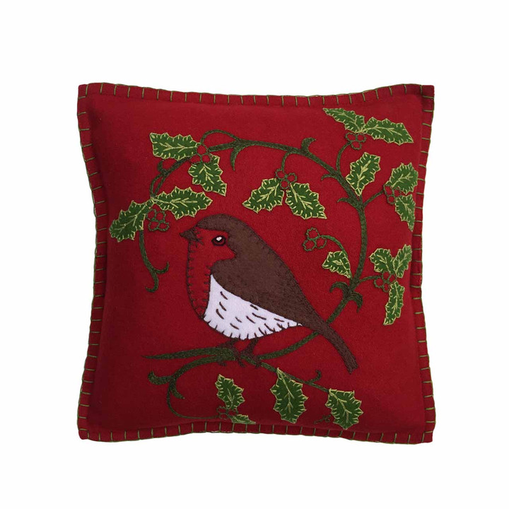 Jan Constantine Holly Robin Cushion (Red)