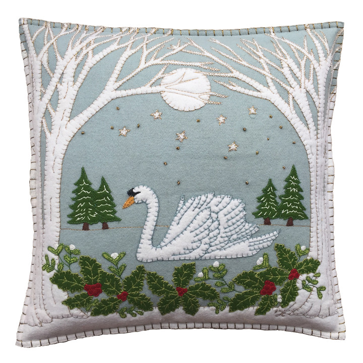 Jan Constantine Swan Cushion (Duck Egg Blue)