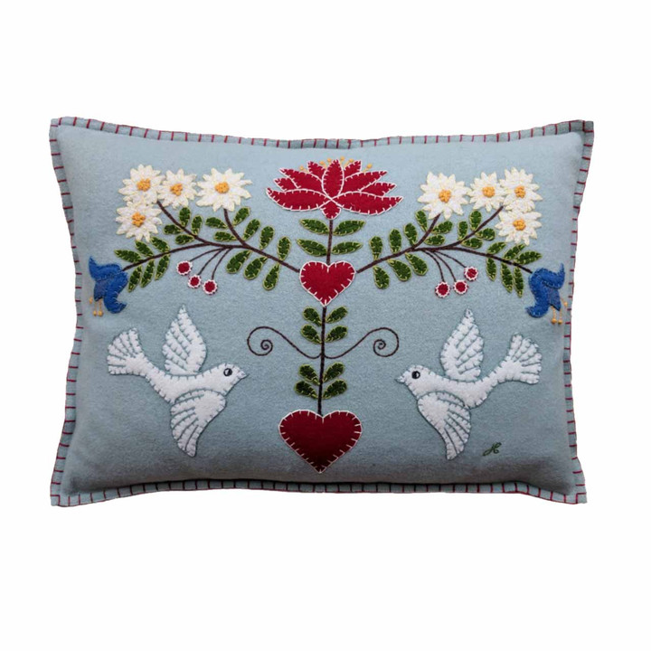 Jan Constantine Alpine Doves Cushion (Duck Egg Blue)