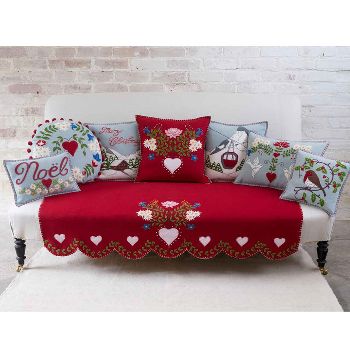 Jan Constantine Alpine Doves Cushion (Red)