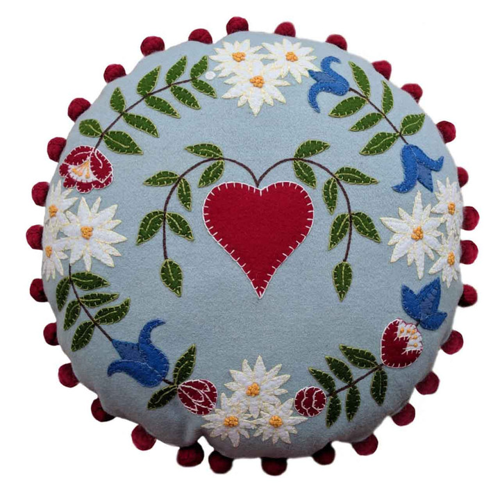 Jan Constantine Alpine Heart Cushion (Duck Egg Blue)