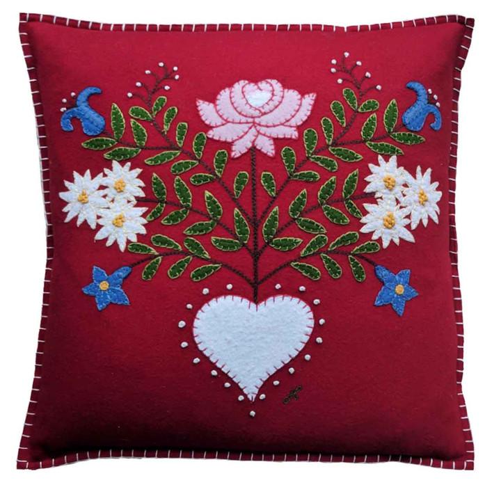 Red Alpine Rose cushion