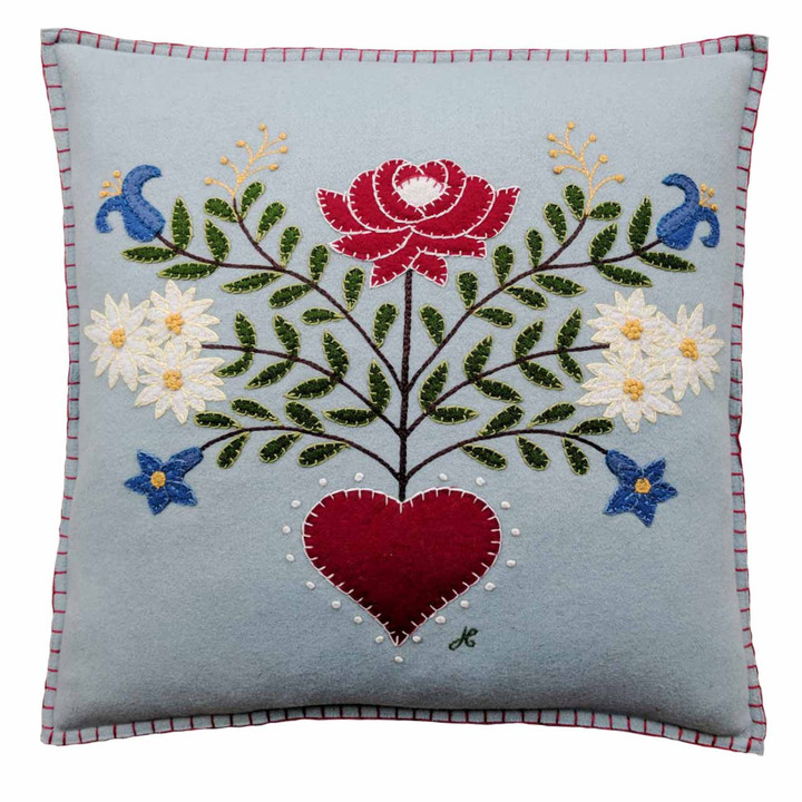 Jan Constantine Alpine Rose Cushion (Duck Egg Blue)