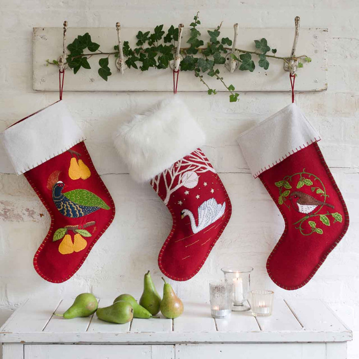 Jan Constantine Swan Christmas Stocking (Red)