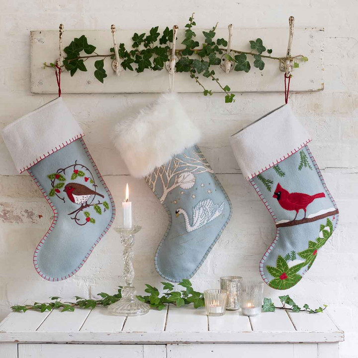 Jan Constantine Holly Robin Christmas Stocking (Duck Egg Blue)