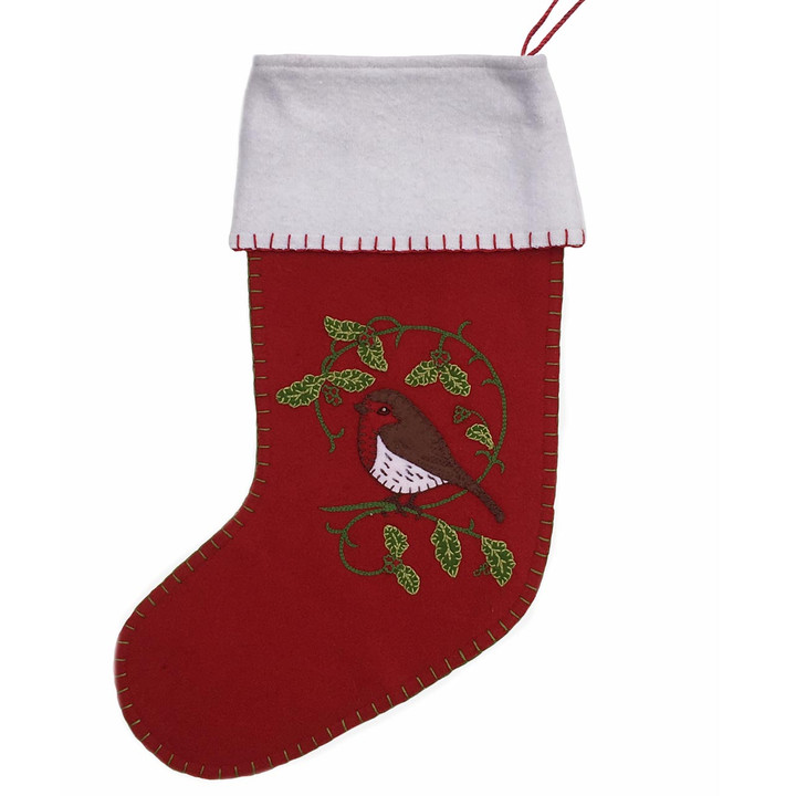 Holly Robin Christmas Stocking (Red)