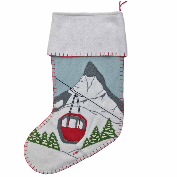 Jan Constantine Alpine Cable Car Christmas Stocking (Duck Egg Blue)