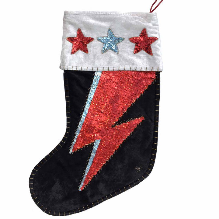 Jan Constantine Glam Rock Velvet Ziggy Christmas Stocking (Black)