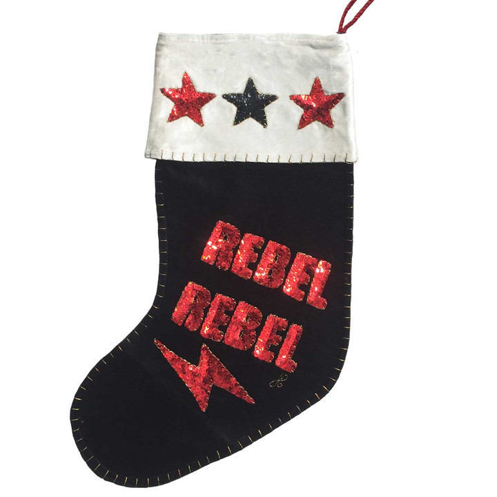 Sequin Velvet Rebel Rebel Christmas Stocking (Black)