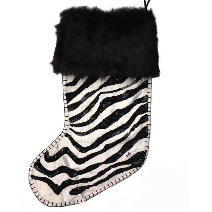 Jan Constantine Sequin Velvet Zebra Skin Christmas Stocking (Cream)