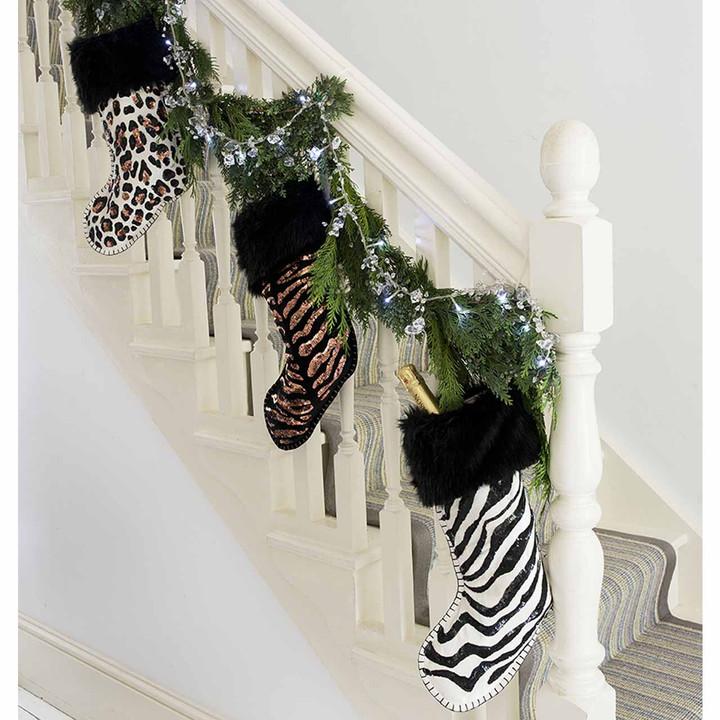 Jan Constantine Sequin Velvet Zebra Skin Christmas Stocking (Cream)