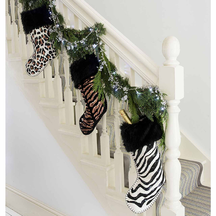 Sequin Velvet Tiger Skin Christmas Stocking (Black)