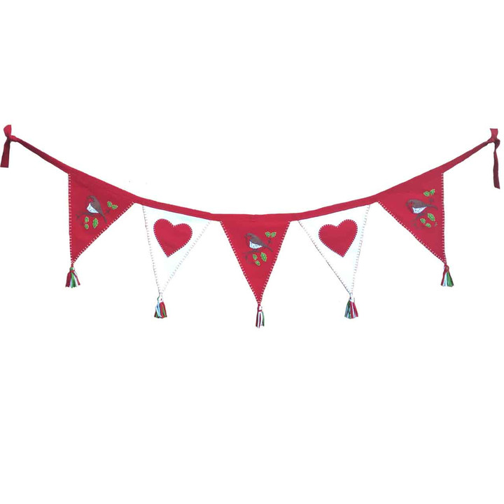 Robin and Heart Christmas Bunting (Red)