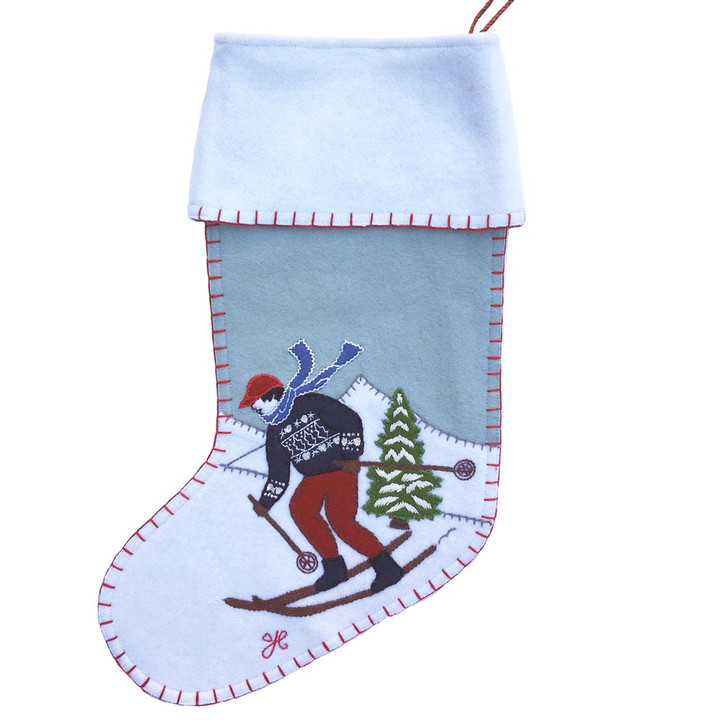 Jan Constantine Alpine Skier Man Christmas Stocking (Duck Egg Blue)