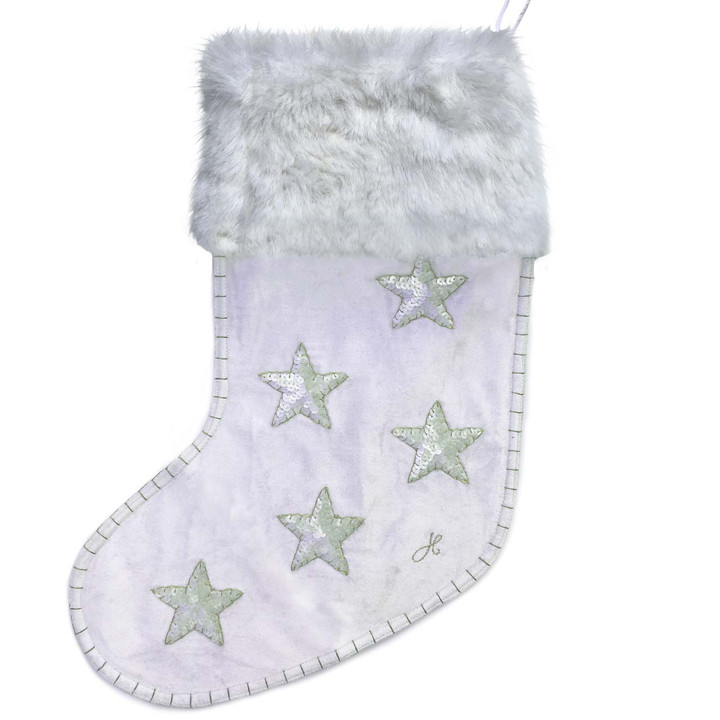 Velvet Sequin Star Christmas Stocking (Cream)