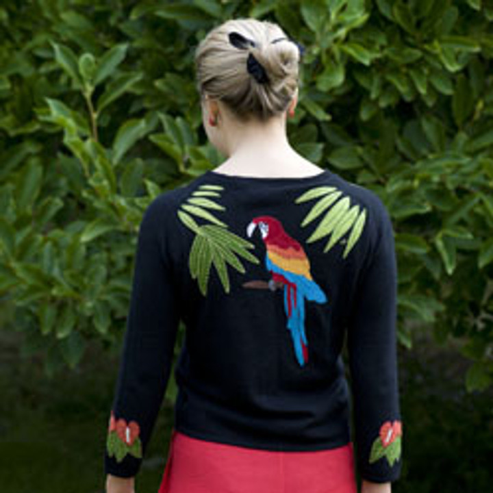 Tropical Cashmere Cardigan (Black)
