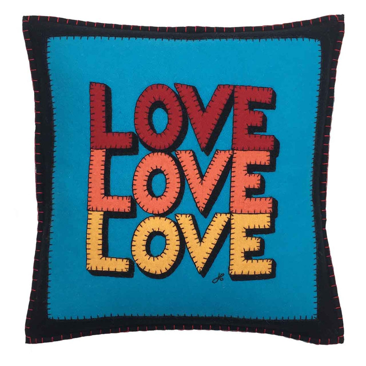 Square Love cushion. Pop art, black, blue, brights, wool felt. Hand-stitched appliqué.