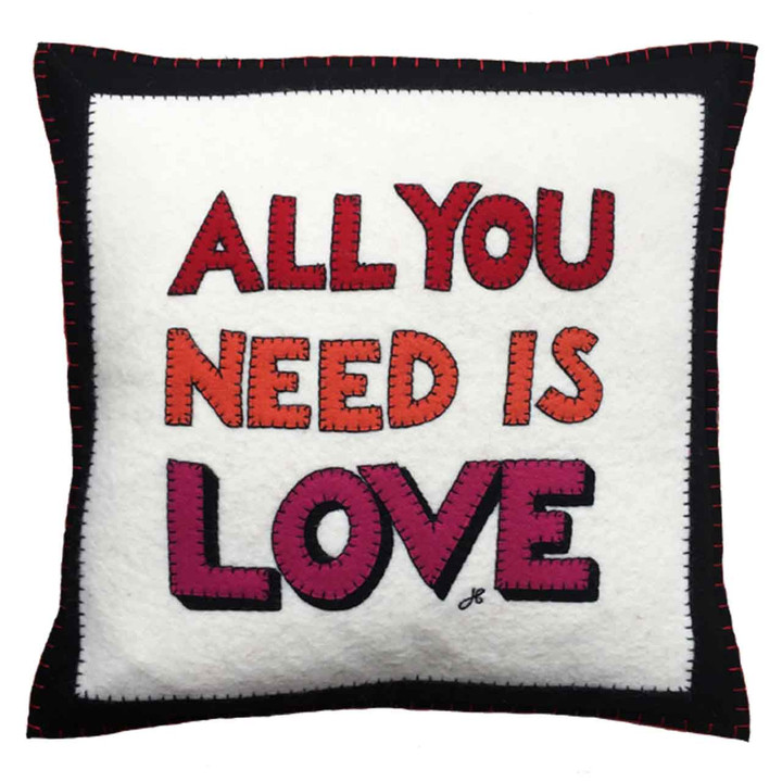 Hand-embroidered square slogan cushion. Cream, black, multi wool felt. Love, Valentine, pop art.