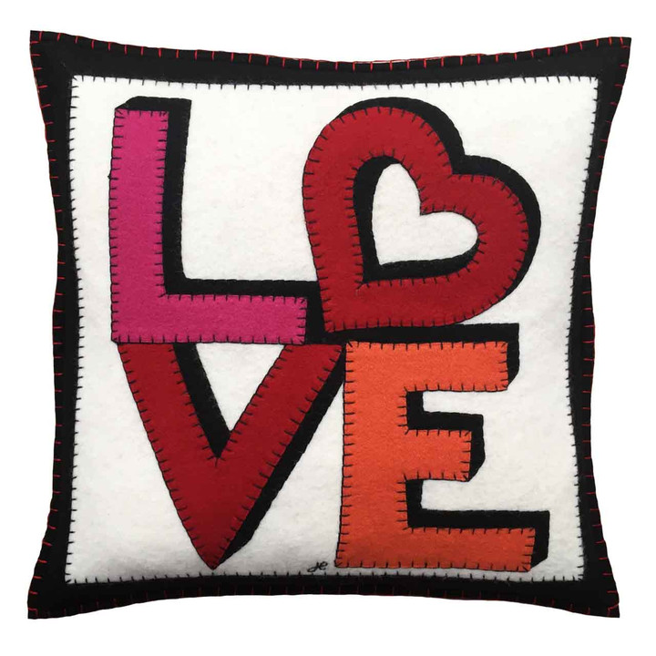 Luxury square wool felt cushion. Hand-embroidered love appliqué. Cream, black, red, pink. Love heart motif, Valentine, pop art.