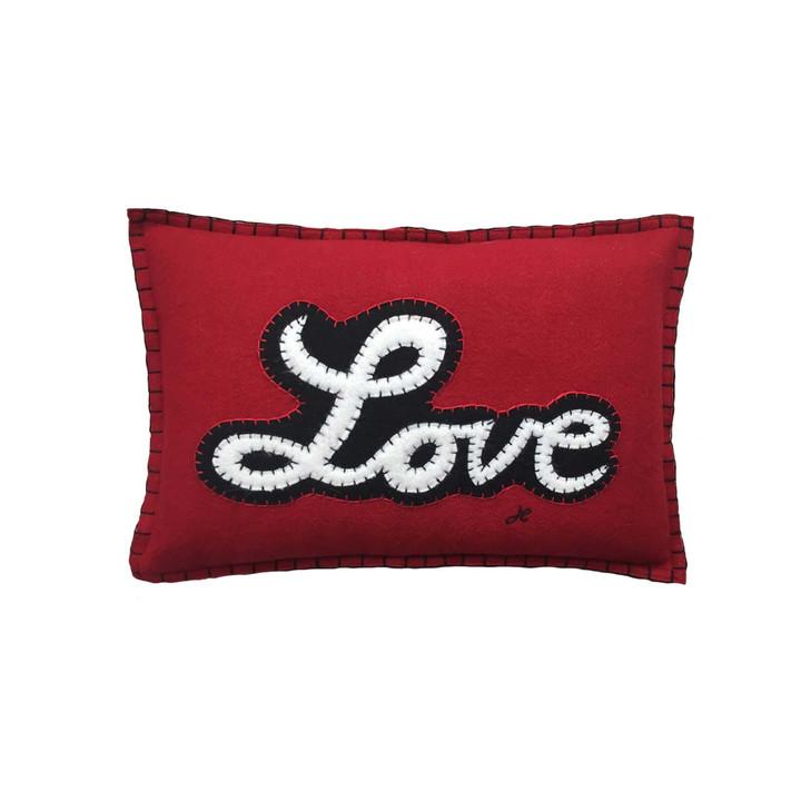 Designer red wool felt rectangular mini cushion. Luxury hand-stitched Love motif in white and black script. Pop art, Valentine.