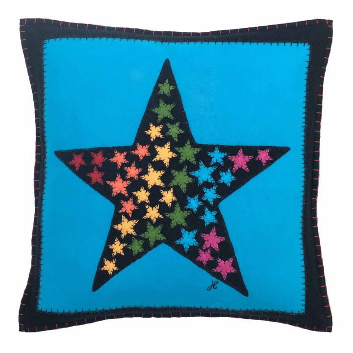 Square wool felt star cushion. Black, blue, multi coloured, pop art. Hand-embroidered, designer.