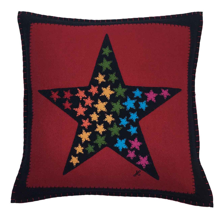 Hand-embroidered square cushion, star motif. Black and red wool felt, rainbow coloured stars. Designer, pop art.