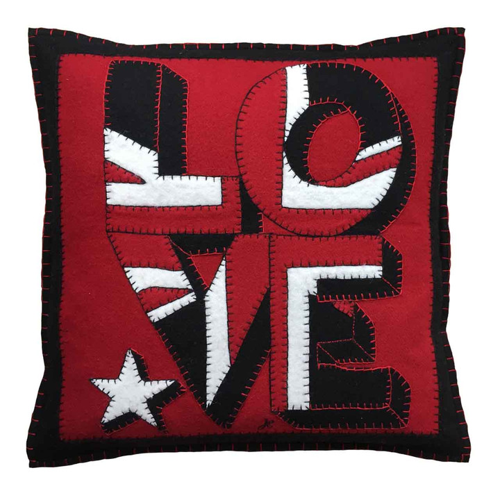 Luxury square Love wool felt cushion. Union Jack appliqué, hand-embroidery, star motif. Red, black, white wool felt. Pop art, Valentine.