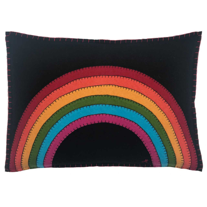 Designer rectangle rainbow cushion.Hand-stitched wool felt. Black, multi coloured, pop art.