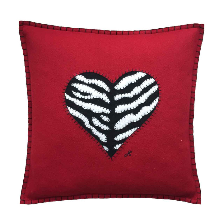 Designer square love heart cushion. Red wool felt, hand-stitched  black and white zebra skin, animal, Valentine.