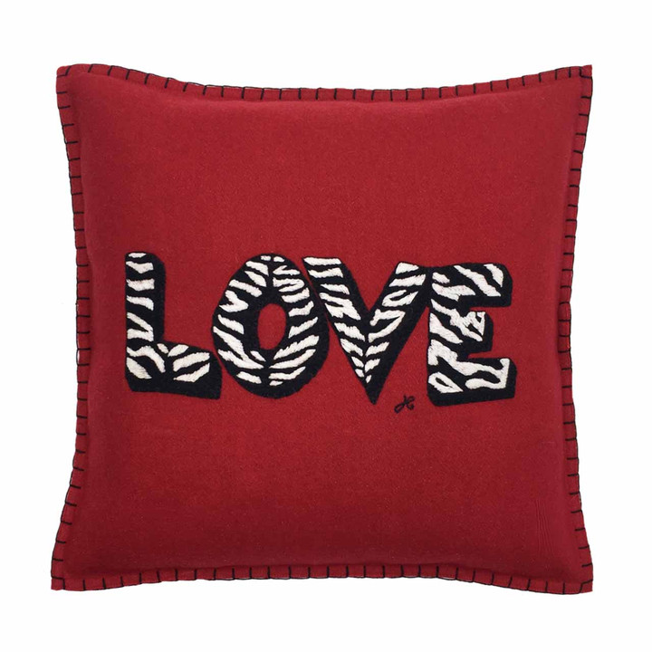Luxury square LOVE scatter cushion. Red wool felt, hand-stitched  black and white zebra skin letters.British designer animal print.