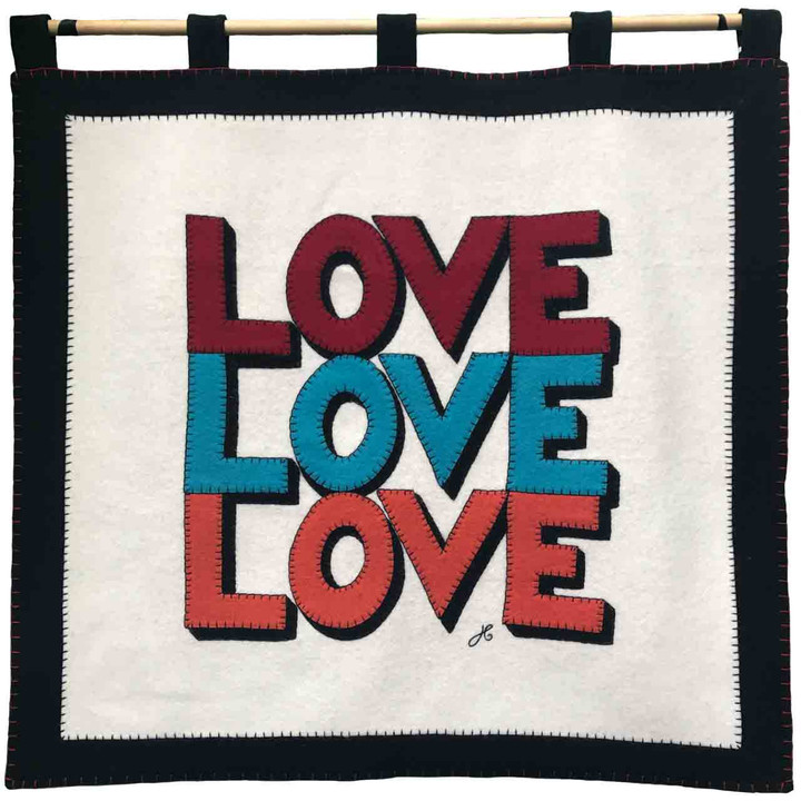Luxury cream and black wool felt wall hanging. Red, blue, orange Love Love Love hand-stitched appliqué slogan. Designer, pop art, Valentine.