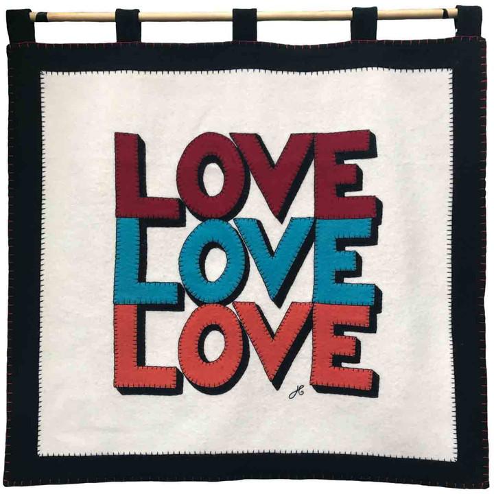 Luxury cream and black wool felt wall hanging. Red, blue, orange Love Love Love hand-stitched appliqué slogan. Designer, pop art, Valentine.
