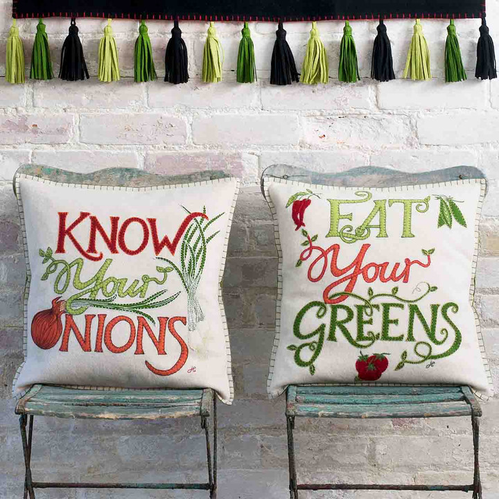 Eat Your Greens Cushion (Cream)
