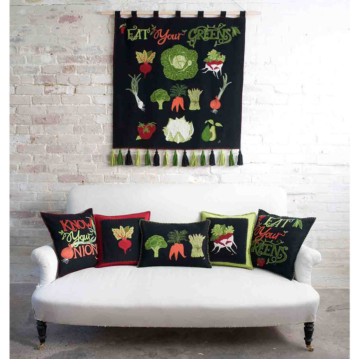 Eat Your Greens Cushion (Black)