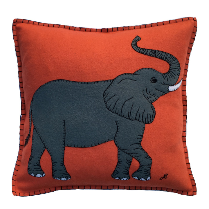 Square orange wool felt cushion with grey elephant appliqué. Our luxury safari cushion is hand-embroidered.