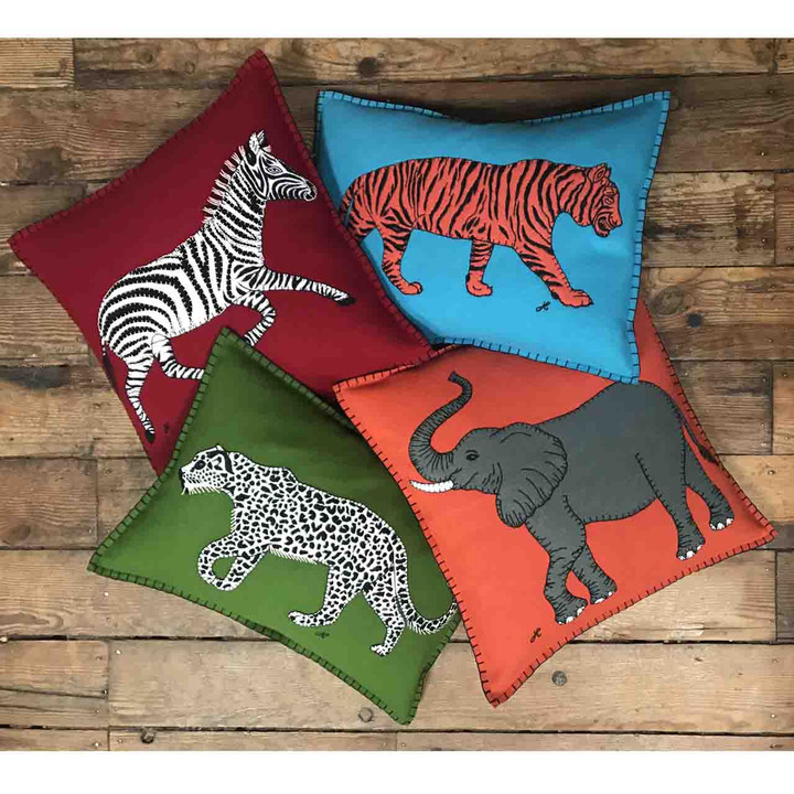 Running Zebra Cushion (Red)