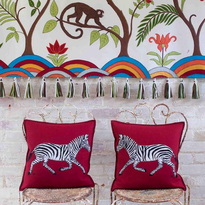 Running Zebra Cushion (Red)