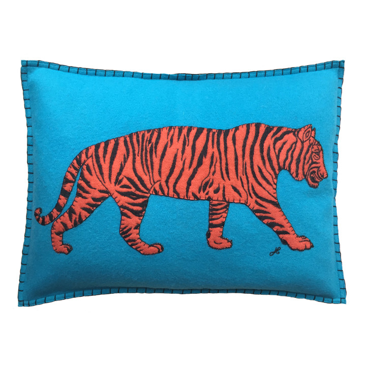 Hand-embroidered rectangular bright blue wool felt cushion. Orange and black appliqué tiger. Luxury designer cushion, perfect for a your favourite sofa or chair