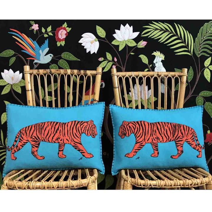 Tiger Cushion (Blue)