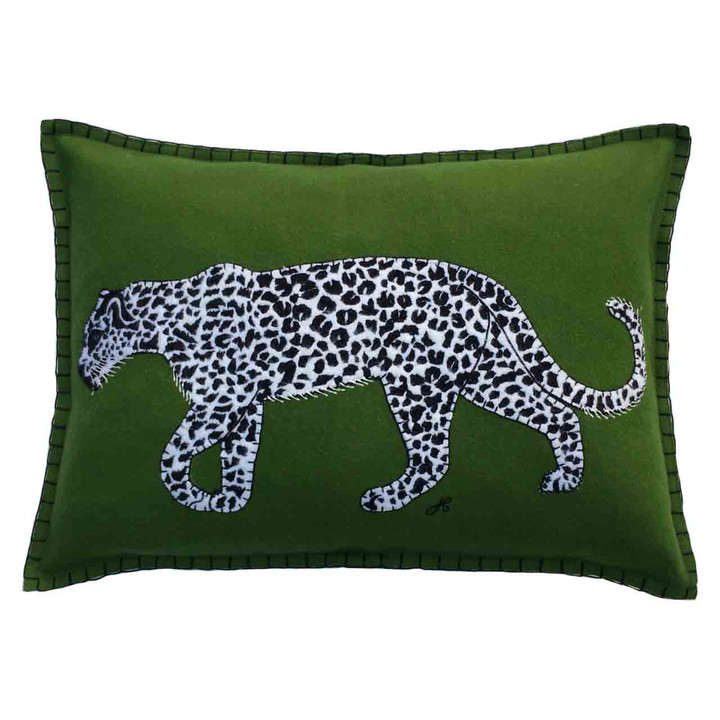 Designer rectangular green wool felt cushion.Black and white leopard appliqué. Tropical. jungle, animal. Hand-embroidered.
