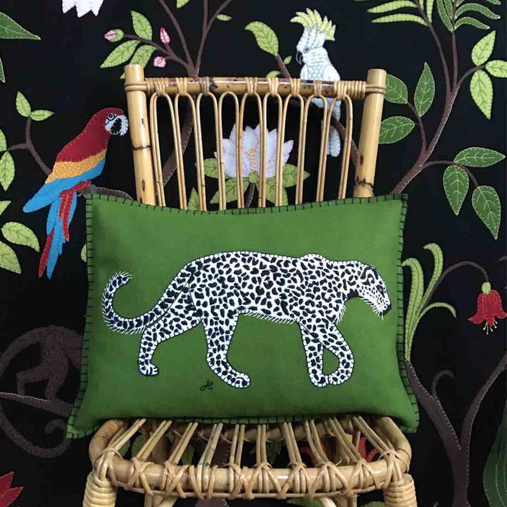 Leopard Cushion (Green)