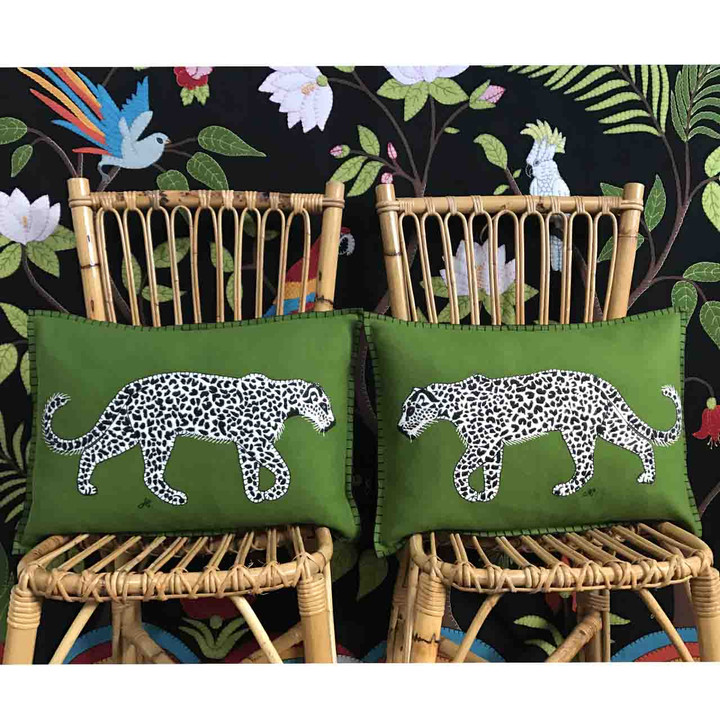 Leopard Cushion (Green)
